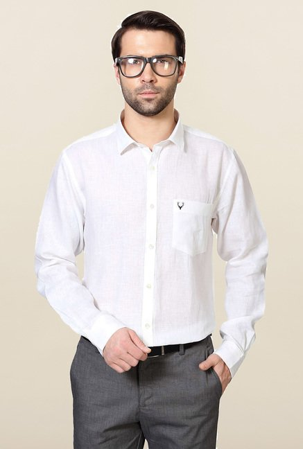Allen Solly White Solid Formal Shirt