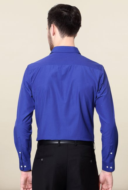 Peter England Royal Blue Checks Formal Shirt