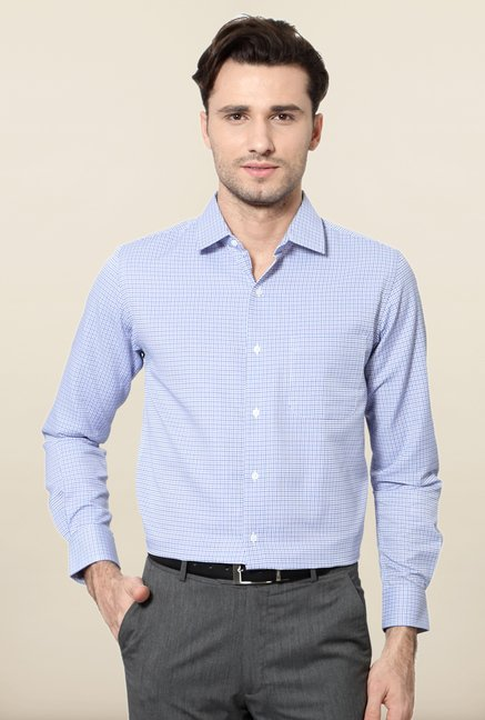 Peter England Blue Full Sleeves Formal Shirt