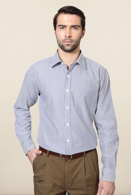 Allen Solly Blue Striped Slim Fit Formal Shirt