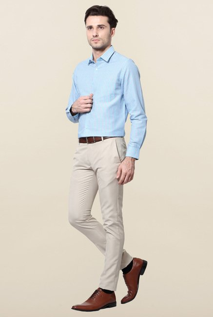 Peter England Blue Striped Slim Fit Shirt