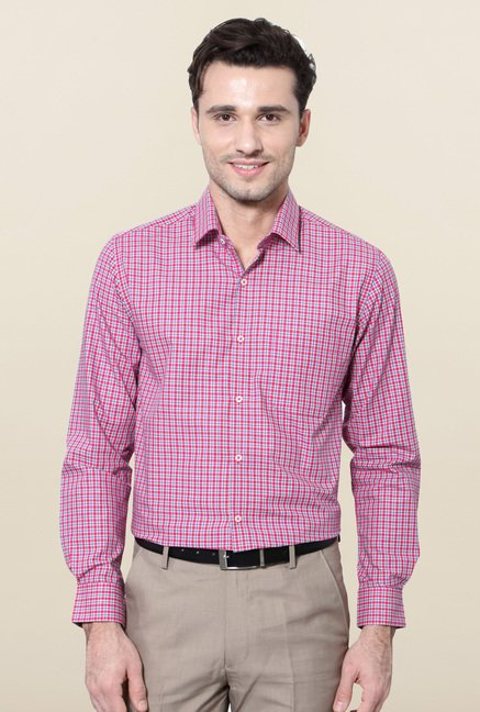 Peter England Pink & Blue Cotton Formal Shirt