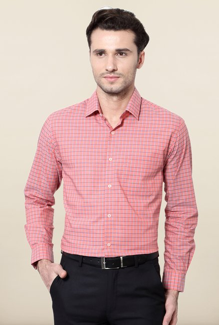 Peter England Pink Checks Cotton Shirt