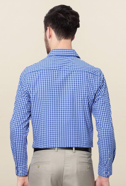 Peter England Blue Checks Full Sleeves Formal Shirt