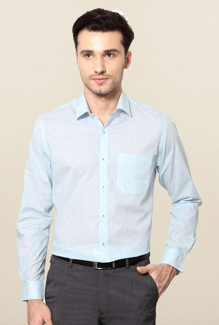 Peter England Blue Printed Cotton Shirt