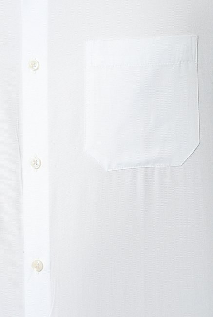 Peter England White Solid Cotton Formal Shirt