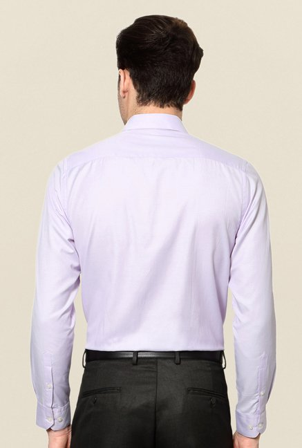 Peter England Purple Solid Cotton Shirt