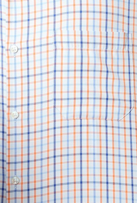 Peter England Orange & Blue Slim Fit Formal Shirt
