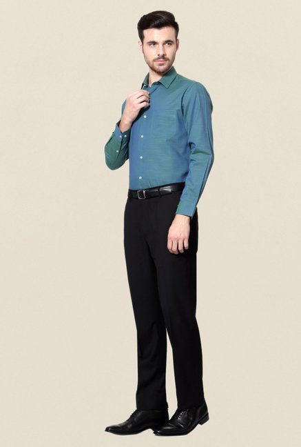 Peter England Teal Cotton Formal Shirt