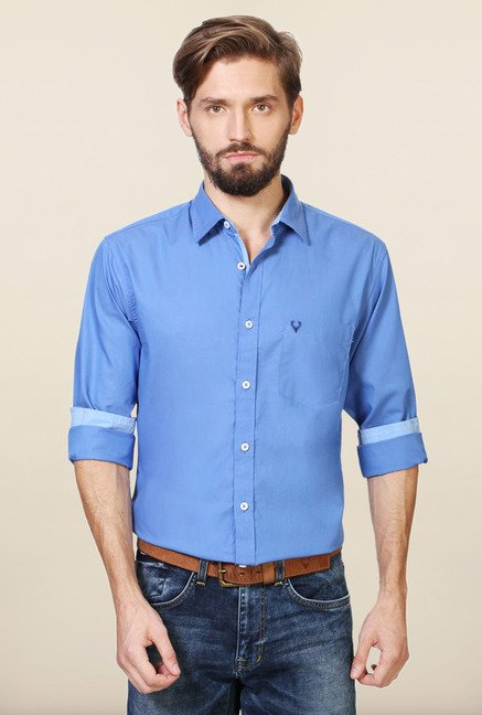 Allen Solly Blue Solid Slim Fit Shirt