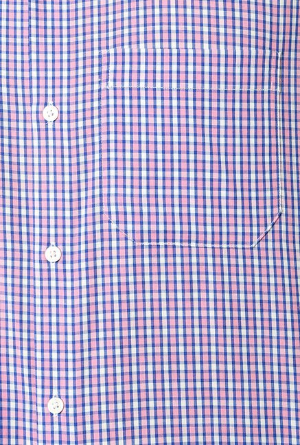 Peter England Pink & Blue Slim Fit Shirt