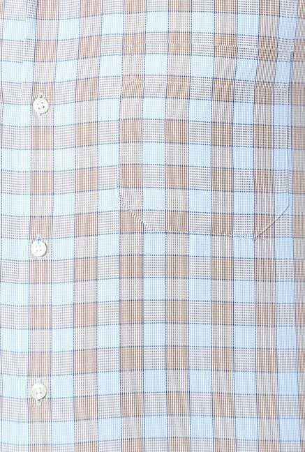 Peter England Blue & Brown Checks Slim Fit Shirt