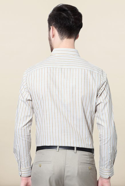 Peter England White & Brown Striped Formal Shirt