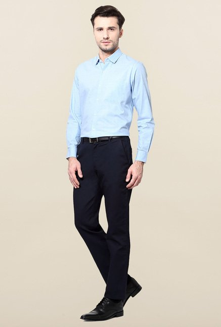 Peter England Blue Full Sleeves Printed Shirt