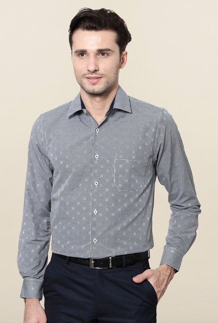 Peter England Black Printed Slim Fit Formal Shirt