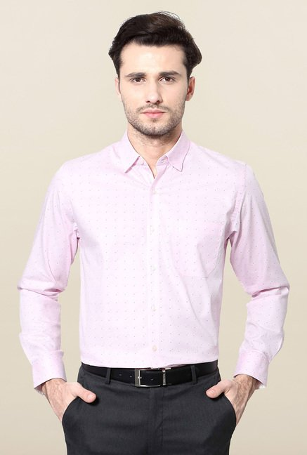 Peter England Pink Printed Slim Fit Cotton Formal Shirt
