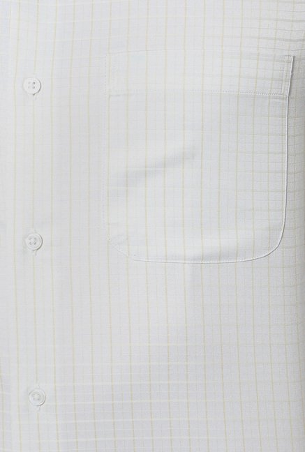 Peter England White Checks Full Sleeves Formal Shirt