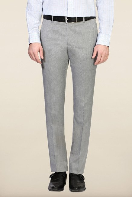 Allen Solly Grey Solid Flat Front Trouser