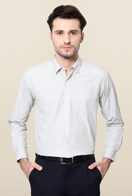 Peter England White Printed Formal Shirt