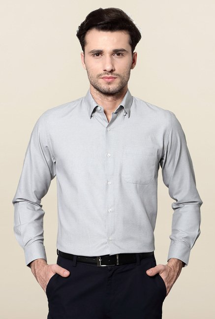 Peter England Grey Printed Slim Fit Formal Shirt