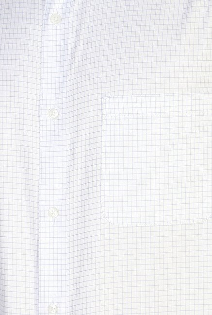Peter England White Checks Regular Fit Formal Shirt