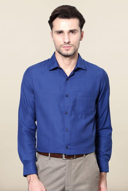 Peter England Royal Blue Printed Formal Shirt