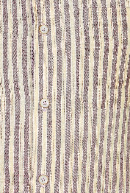 Peter England Beige Striped Cotton Formal Shirt