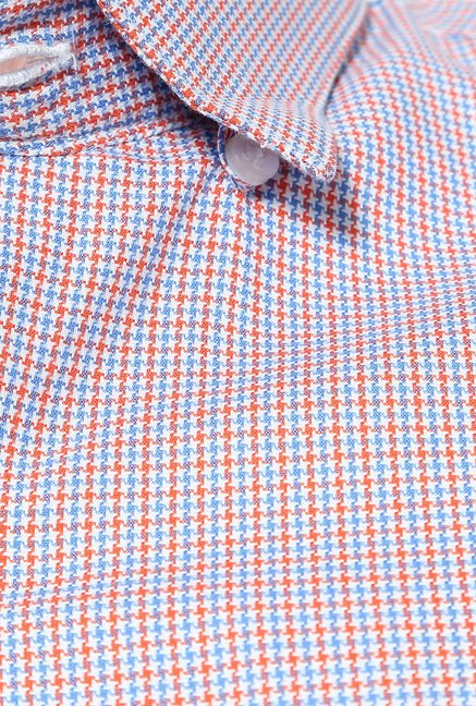 Peter England Red & Blue Printed Cotton Formal Shirt