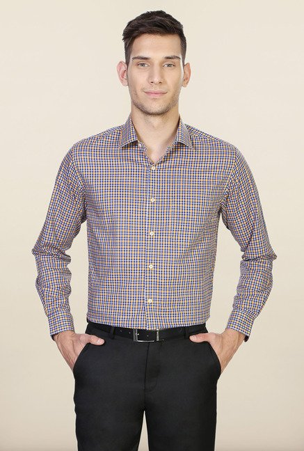 Peter England Blue & Yellow Checks Shirt