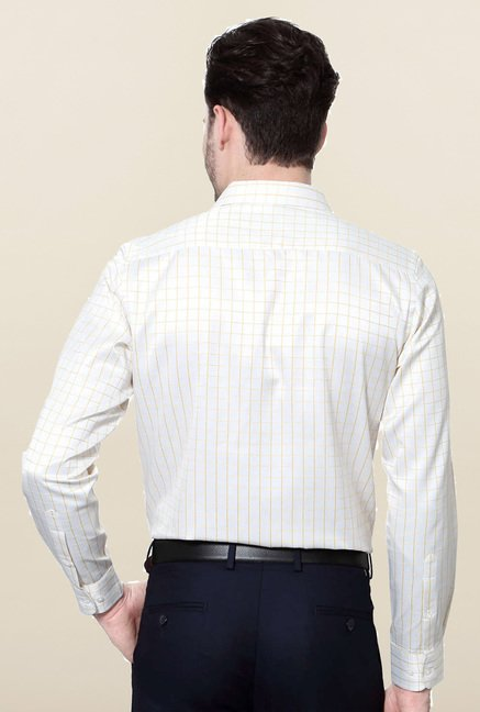 Peter England White Checks Full Sleeves Shirt