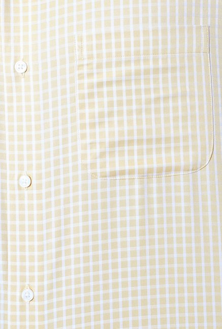 Peter England Yellow Checks Slim Fit Formal Shirt