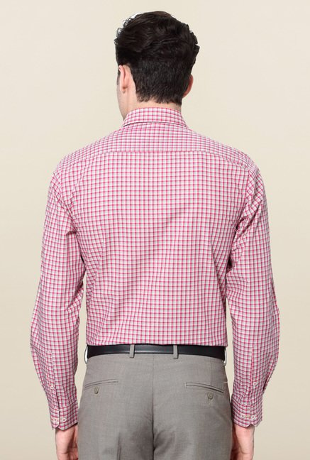 Peter England Pink Slim Fit Cotton Formal Shirt