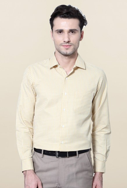 Peter England Yellow Checks Slim Fit Shirt