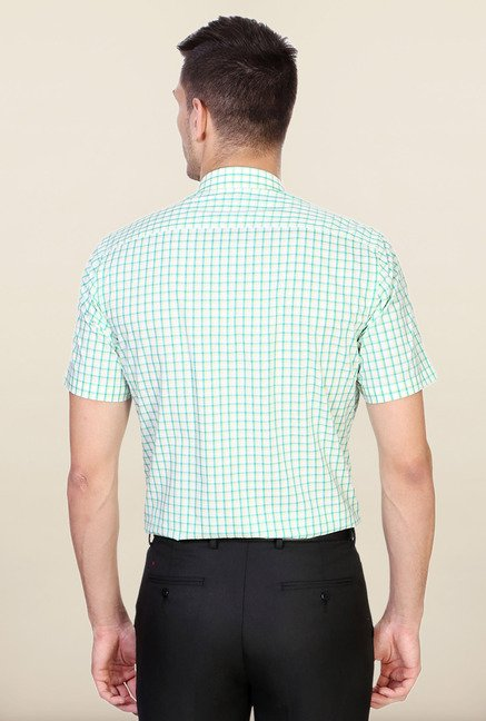 Peter England Green Checks Cotton Shirt
