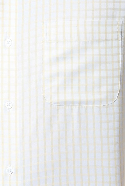 Peter England Beige & White Checks Formal Shirt