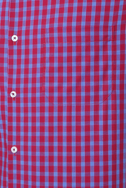 Peter England Pink & Blue Checks Shirt