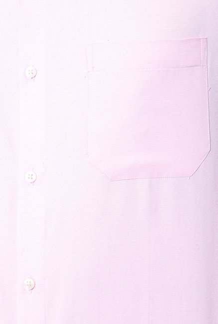 Peter England Pink Solid Cotton Shirt