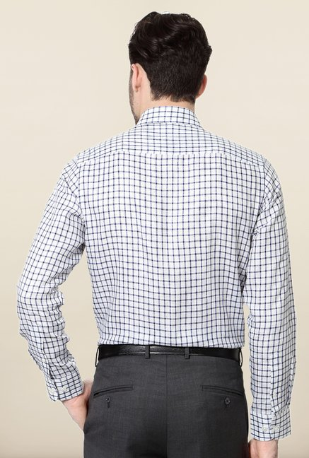 Peter England Blue & White Checks Linen Formal Shirt