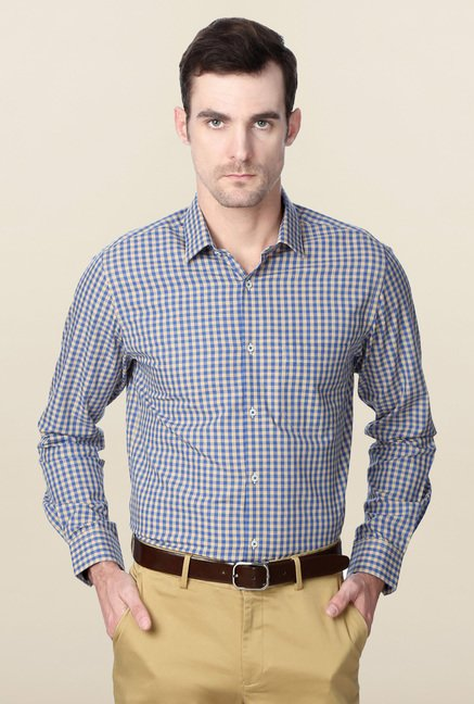 Peter England Blue Full Sleeves Cotton Formal Shirt