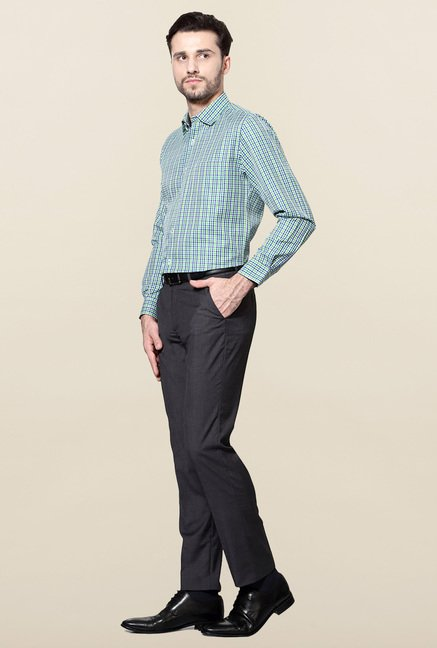 Peter England Green & Blue Checks Shirt