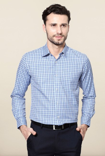 Peter England Blue Checks Full Sleeves Shirt