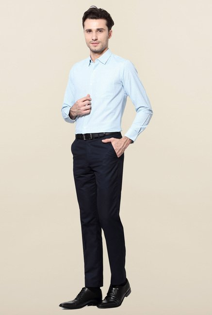 Peter England Blue Checks Slim Fit Formal Shirt
