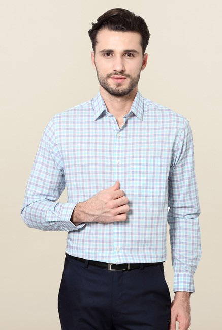 Peter England Blue Checks Shirt