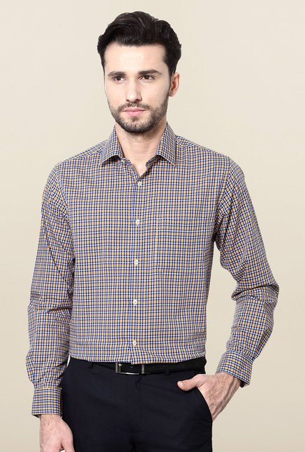 Peter England Yellow & Navy Checks Formal Shirt