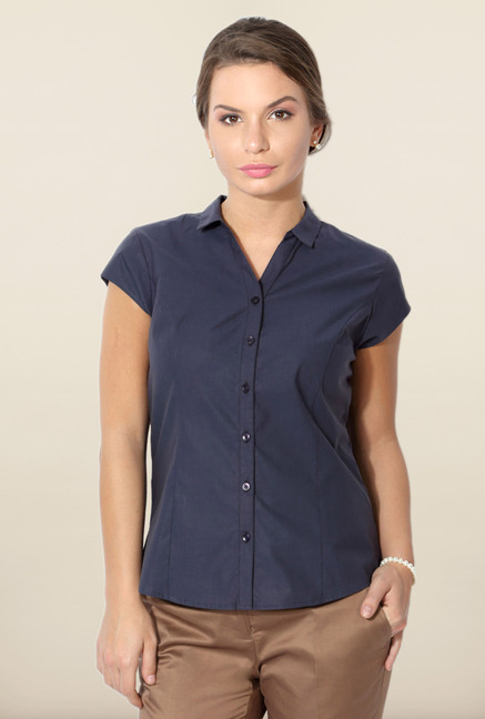 Allen Solly Navy Solid Formal Shirt