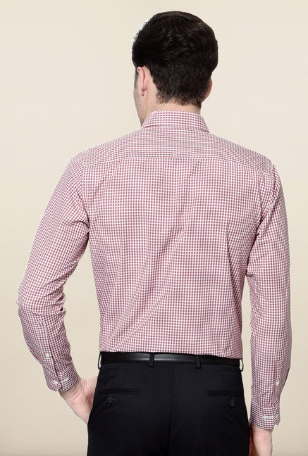 Peter England Red & White Checks Slim Fit Formal Shirt