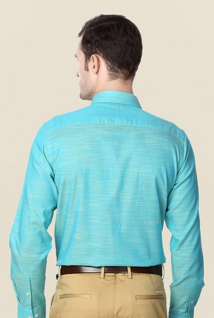 Peter England Turquoise Slim Fit Formal Shirt