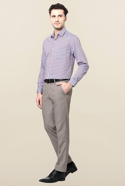 Peter England Purple & Blue Cotton Formal Shirt