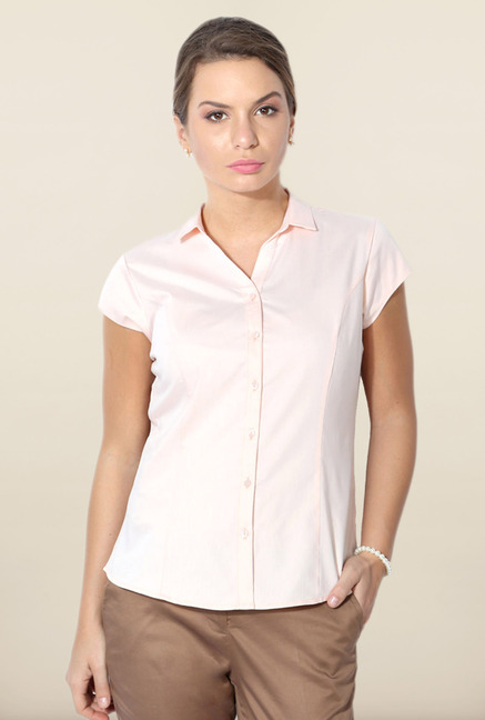 Allen Solly Light Pink Solid Formal Shirt