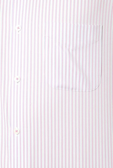 Peter England Pink & White Striped Formal Shirt